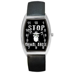 Stop Animal Abuse   Chimpanzee  Barrel Style Metal Watch