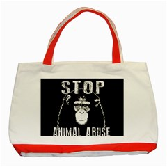 Stop Animal Abuse   Chimpanzee  Classic Tote Bag (red)