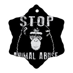 Stop Animal Abuse   Chimpanzee  Ornament (snowflake)