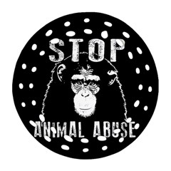 Stop Animal Abuse   Chimpanzee  Round Filigree Ornament (two Sides)