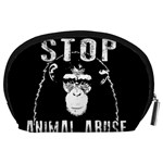Stop Animal Abuse - Chimpanzee  Accessory Pouches (Large)  Back