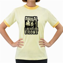 Animal Liberation Front   Chimpanzee  Women s Fitted Ringer T Shirts