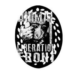 Animal Liberation Front   Chimpanzee  Oval Filigree Ornament (two Sides)