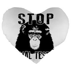 Stop Animal Testing   Chimpanzee  Large 19  Premium Heart Shape Cushions