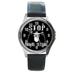 Stop Animal Testing   Chimpanzee  Round Metal Watch