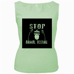 Stop Animal Testing   Chimpanzee  Women s Green Tank Top