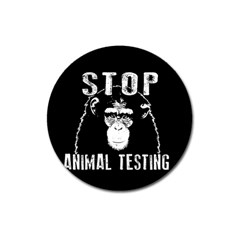 Stop Animal Testing   Chimpanzee  Magnet 3  (round)