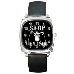 Stop Animal Testing   Chimpanzee  Square Metal Watch