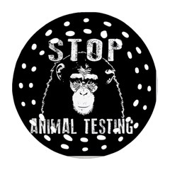 Stop Animal Testing   Chimpanzee  Round Filigree Ornament (two Sides)