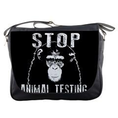 Stop Animal Testing   Chimpanzee  Messenger Bags