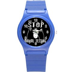 Stop Animal Testing   Chimpanzee  Round Plastic Sport Watch (s)