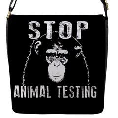 Stop Animal Testing   Chimpanzee  Flap Messenger Bag (s)
