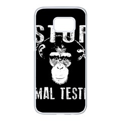 Stop Animal Testing   Chimpanzee  Samsung Galaxy S7 Edge White Seamless Case