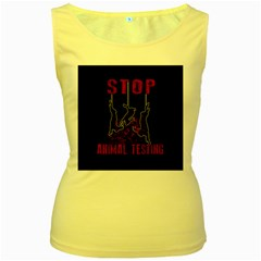 Stop Animal Testing   Rabbits  Women s Yellow Tank Top