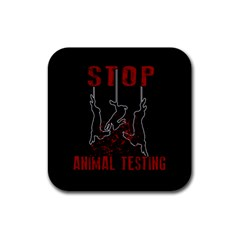 Stop Animal Testing   Rabbits  Rubber Square Coaster (4 Pack)