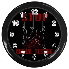Stop Animal Testing   Rabbits  Wall Clocks (black)