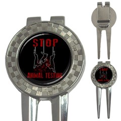 Stop Animal Testing   Rabbits  3 In 1 Golf Divots