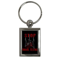 Stop Animal Testing   Rabbits  Key Chains (rectangle)