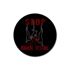 Stop Animal Testing   Rabbits  Rubber Coaster (round)