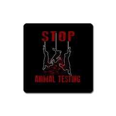 Stop Animal Testing   Rabbits  Square Magnet