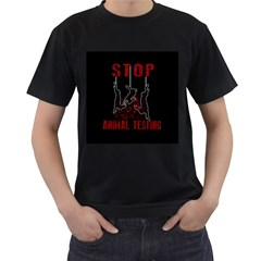 Stop Animal Testing   Rabbits  Men s T Shirt (black) (two Sided)