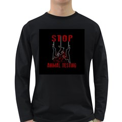 Stop Animal Testing   Rabbits  Long Sleeve Dark T Shirts