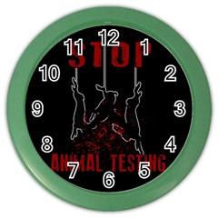 Stop Animal Testing   Rabbits  Color Wall Clocks