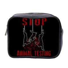 Stop Animal Testing   Rabbits  Mini Toiletries Bag 2 Side