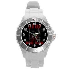 Stop Animal Testing   Rabbits  Round Plastic Sport Watch (l)