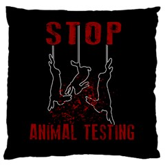 Stop Animal Testing   Rabbits  Large Cushion Case (two Sides)
