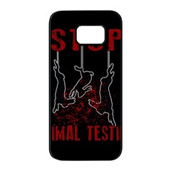 Stop Animal Testing   Rabbits  Samsung Galaxy S7 Edge Black Seamless Case