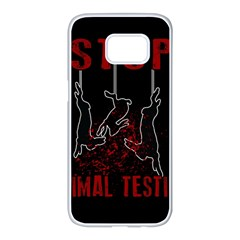 Stop Animal Testing   Rabbits  Samsung Galaxy S7 Edge White Seamless Case