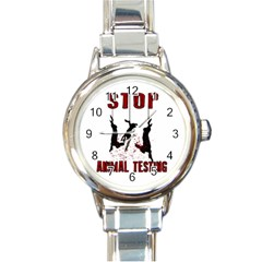 Stop Animal Testing   Rabbits  Round Italian Charm Watch