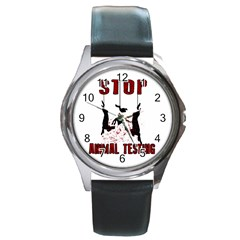 Stop Animal Testing   Rabbits  Round Metal Watch