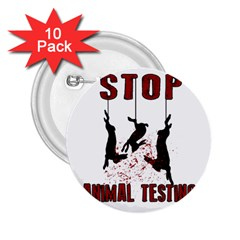 Stop Animal Testing   Rabbits  2 25  Buttons (10 Pack)