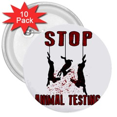 Stop Animal Testing   Rabbits  3  Buttons (10 Pack)