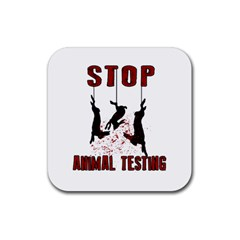 Stop Animal Testing   Rabbits  Rubber Coaster (square)