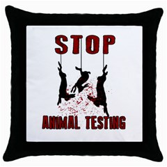 Stop Animal Testing   Rabbits  Throw Pillow Case (black)