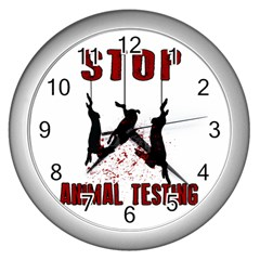 Stop Animal Testing   Rabbits  Wall Clocks (silver)