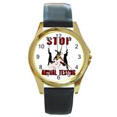 Stop Animal Testing   Rabbits  Round Gold Metal Watch