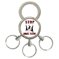 Stop Animal Testing   Rabbits  3 Ring Key Chains