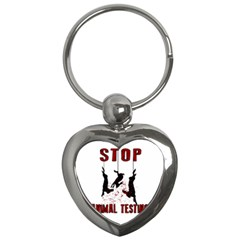 Stop Animal Testing   Rabbits  Key Chains (heart)