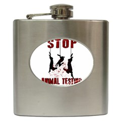 Stop Animal Testing   Rabbits  Hip Flask (6 Oz)