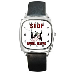 Stop Animal Testing   Rabbits  Square Metal Watch