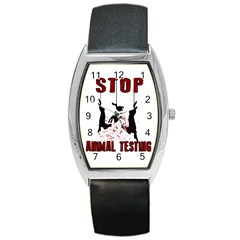 Stop Animal Testing   Rabbits  Barrel Style Metal Watch