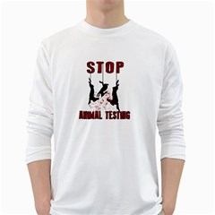 Stop Animal Testing   Rabbits  White Long Sleeve T Shirts