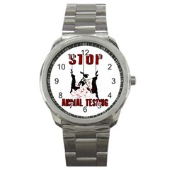 Stop Animal Testing   Rabbits  Sport Metal Watch