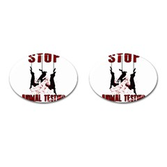 Stop Animal Testing   Rabbits  Cufflinks (oval)