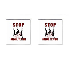 Stop Animal Testing   Rabbits  Cufflinks (square)