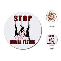 Stop Animal Testing   Rabbits  Playing Cards (round)